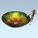 Contemporary Pattern Flower Bathroom Sink Set (Sink, Mounting Ring,Water Drain ,Faucet)