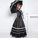 manga longa até o chão preto de cetim de algodão clássico vestido lolita