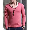 Dos homens V-Neck Elastic T-shirt longo da luva