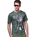 LANGZUYOUDANG Men's 3D Printing Short Sleeve T-shirt Dark Green