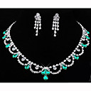 Shining Alloy with Rhinestone&Acrylic Necklace,Earrings Jewelry Set(More Colors)