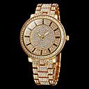 Frauen funkeln Diamanten runden Zifferblatt Stahl Band Quarz-Armbanduhr