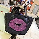 Black Cat Naisten Canvas Lips Down Feather Bag