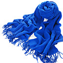 Acrylic Fiber Twill Blue Warm Winter Scarf with Tassels