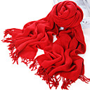 Acrylic Fiber Twill Red Warm Winter Scarf with Tassels