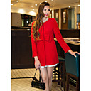 TS Bow At Waist Slim Fit Tweed Long Coat