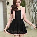 Women's Lace Stitching False Two Pieces Long Sleeve Dress