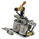 Currency Dual Coils Designed Tattoo Machine with Color Alloy and Stainless Steel Grips