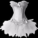 Women's Bows Ruffles Corset with G-string and Skirt