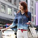 Mulheres Camisa Colarinho de Camisa Manga Longa Estampado Denim Mulheres