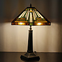 60W Tradisjonell Tiffany Glass Light med Resin Stand