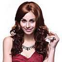 100% Kanekalon Syntetisk Elegant Wavy Long Chestnut Brown Wig