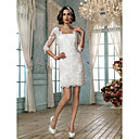 Lanting Sheath/Column Petite Wedding Dress - Ivory Short/Mini Square Lace