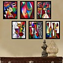 Color Abstract Art Cartoon Framed Canvas Print Set of 6