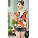 Women's Vintage Print Short Sleeve Blouse