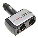 2-in-1 12V/24V DC Cigar Car Cigarette Lighter Double Power Adapter Socket Splitter