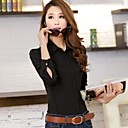 Women's Solid Black/White Shirt , Shirt Collar Long Sleeve