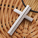 Fashion Gescheiden Crucifix Zwart Leer Hanger Collier (1 Pc)