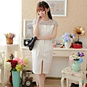Women's Patchwork White Dress , Bodycon/Casual/Lace/Party/Work Crew Neck Short Sleeve Lace/Split