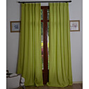 (Two Panels) Solid Linen/Cotton Classic Eco-friendly Curtain (Green)