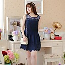 Women's Lace White Dress , Casual/Lace/Party/Work Round Neck Sleeveless Mesh/Lace/Pleated