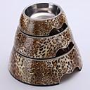 Leopard Applique Mélamine Bol rond avec Dish acier inoxydable pour Pet Dogs