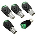 5pcs Cat5 To BNC Female Connector Coax for CCTV Camera BNC UTP Video Balun Connector Adapter BNC Plug For CCTV System