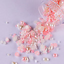 3000PCS MiXs Storlek Flat Base ABS White & Pink Pearl Nail Art Dekorationer
