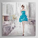 Hand Painted Oil Painting People Girl in the Street with Stretched Frame