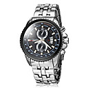 Men's Fashion Hard Case Calendar Silver Steel Band Quartz Wrist Watch