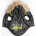 Cool K-9  Pattern Cotton-Padded Hoodies Vest for Pets Dogs (Black Assorted Sizes)