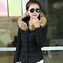 Women's Down Coat with Detachable Faux Fur Collar