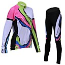 Håller värmen / Andningsfunktion / Fleecefoder - Lång ärm - Klädesset/Kostymer / Jersey / Cykling Tights (Gul / Rosa) - till Cykling -