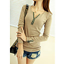 Women's Patchwork Beige/Blue/Green/Red T-shirt , Casual V Neck Long Sleeve