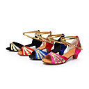 Non Customizable Women's/Kids' Dance Shoes Latin/Performance Satin/Paillette Cuban Heel Black/Fuchsia/Blue/Red
