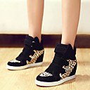 Platform Wedge Heel Canvas Fashion Sneakers with Leopard Split Joint Women's Shoes(More Colors)