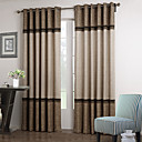 (Two Panels) Neoclassical Brown And Beige Solid Floral Lace Room Darkening Curtain