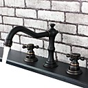 Vintage Style Oil-rubbed Bronze Finish Double Handles Three Holes Brass Bathroom Sink Faucet