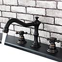 vintage stijl olie gewreven brons afwerking dubbele handgrepen drie gaten messing badkamer wastafel kraan