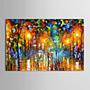 Oil Paintings Modern Landscape Rainy Street  Hand-painted Canvas Ready to Hang