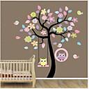 zooyoo®removable albero colorato e gufi parete della decorazione autoadesivo domestico della parete della decalcomania di arte murale