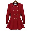 casuale doppio volant petto cappotto di lana delle donne