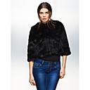 Long Sleeve Collarless Office Faux Fur Jacket