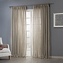 Two Panels Beige Solid Polyester Sheer