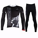 PaladinSport Men's Spring and Summer and Autumn Style 100% Polyester Black Lion  Long Sleeved Cycling Suits