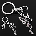 Silver Tinkerbell Dance Angel Peri Colorful Rhinestone Key Chain Ring
