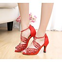 Customizable Women's Dance Shoes Latin Silk Stiletto Heel Black/Red/Other