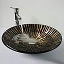Abfluss und Montagering Up - Black-Hat-Form gehärtetes Waschbecken aus Glas mit Bambus-Wasserhahn, Pop
