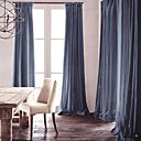 Room Darkening Natural Linen Jean Blue Curtain(Two Panels)