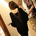 Women's Lace Back Decor Batwing Sleeve T-shirt